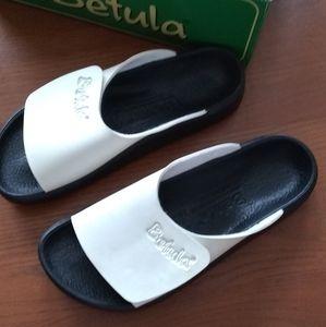Birkenstock Betula Baracuda White/Black Slides NWT